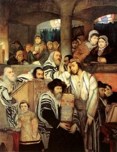 "The Polish-Jewish Maurycy Gottlieb's oil painting ""Jews praying in synagogue on Yom Kippur"" from 1878. Photo: Wikipedia"