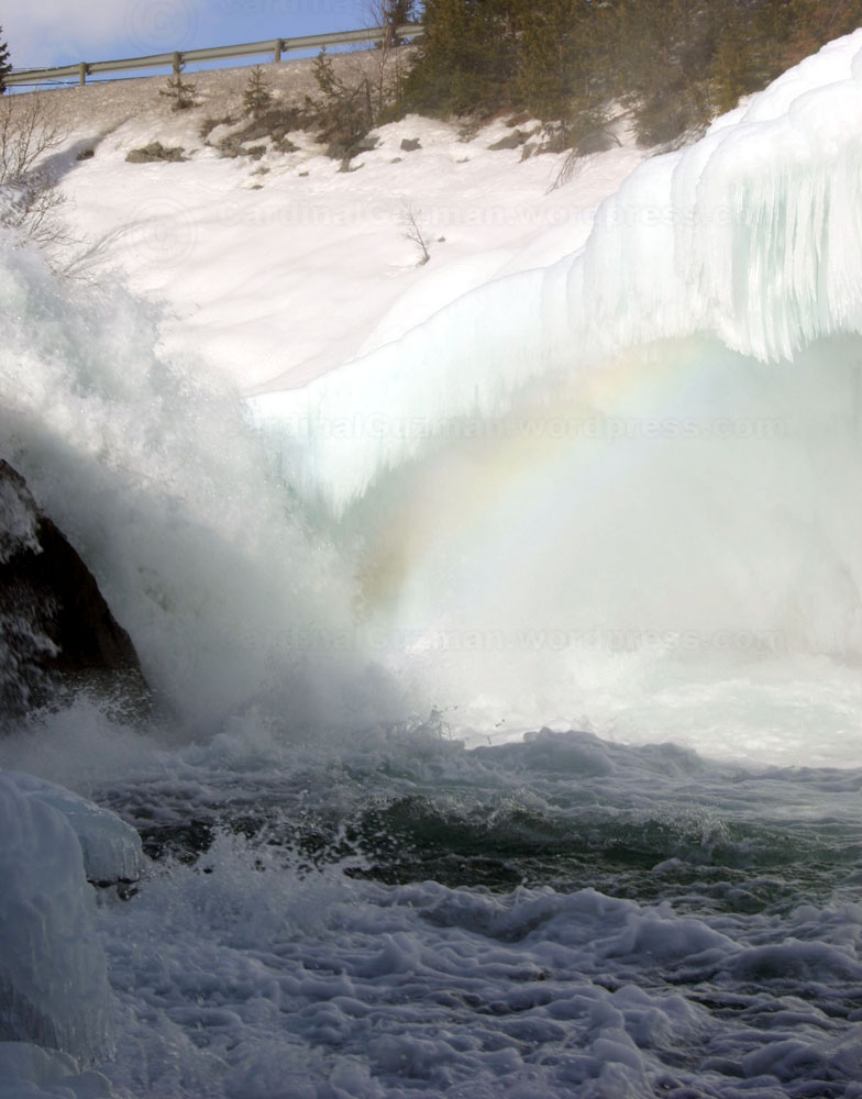 This rainbow is more like a spray bow, created by the mist of the waterfall