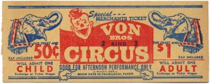 Original Circus Ticket