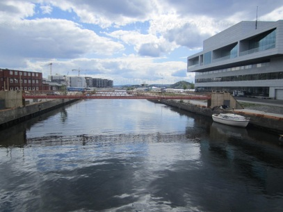 Where Akerselva (Aker River) meets the Oslo Fjord. Back of the opera house on the right.