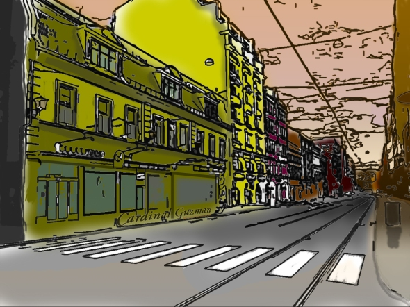 Storgata in Oslo. Digital drawing & photoshop.